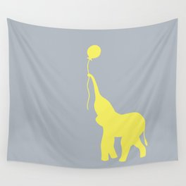 Elephant with Balloon - Lemon Wall Tapestry