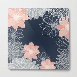 Floral Prints and Line Art, Navy Blue, Coral and Gray Metal Print
