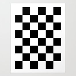 Large Checkered - White and Black Art Print