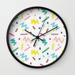 Memphis Pattern Stripes Zigzag and Blobs Wall Clock