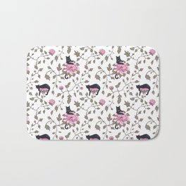 Black cats and paeony flowers Bath Mat