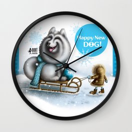 Happy New Dog Wall Clock