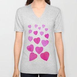 Pink Heart design Unisex V-Neck