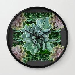 GARDEN OF GRAY-GREEN PINK SUCCULENTS Wall Clock