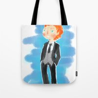 tom hiddleston Tote Bags featuring Tom Hiddleston - Ehehehe! by Delucienne Maekerr