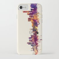 manchester iPhone & iPod Cases featuring Manchester England Skyline by artPause