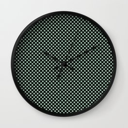 Black and Grayed Jade Polka Dots Wall Clock