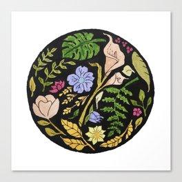 Circular Floral Pattern Design Canvas Print