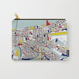 New Orleans, Louisiana City Map - Mondrian Carry-All Pouch