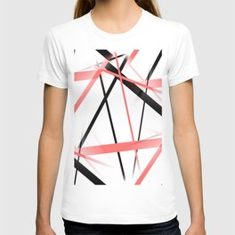 Criss Crossed Coral and Black Stripes on White T-shirt