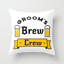 Groom Funny Groom's Brew Crew Throw Pillow