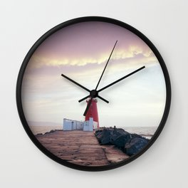 (RR300) Poolbeg lighthouse in Dublin - Ireland Wall Clock