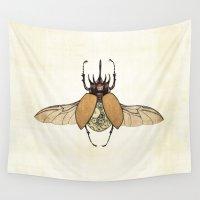 clockwork Wall Tapestries featuring Clockwork Beetle by Charlene K