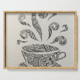 But first, Tea - tea coffee lover zentangle Serving Tray