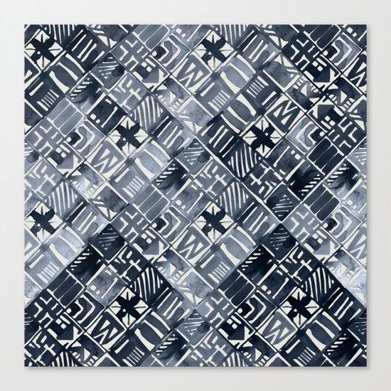 Simply Tribal Tiles in Indigo Blue on Lunar Gray Canvas Print