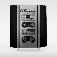 gamer Shower Curtains featuring Classic Gamer by AngoldArts