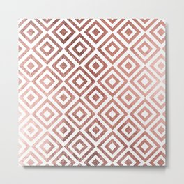 Modern faux rose gold geometrical abstract pattern Metal Print