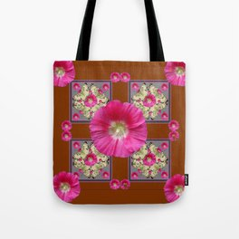 COFFEE BROWN CERISE HOLLYHOCKS BUTTERFLY DESIGN Tote Bag