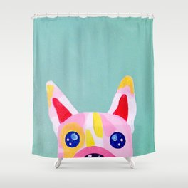 Peek-a-boo Frenchie Shower Curtain