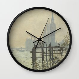 The Thames below Westminster by Claude Monet Wall Clock