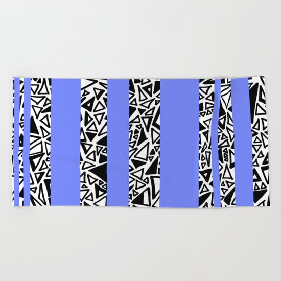 Dark Black and White Triangles Doodle with Blue Beach Towel