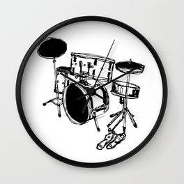 Drum Kit Rock Black White Wall Clock