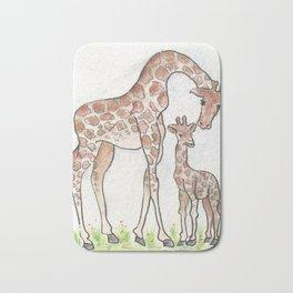Giraffe and her Calf Bath Mat
