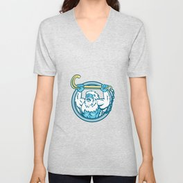 Yeti Lifting J Hook Circle Retro Unisex V-Neck