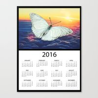 calendars Canvas Prints featuring 2016 Angel Butterfly Calendar by Whimsical Notions Design