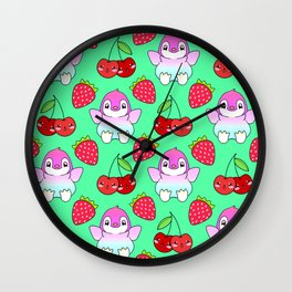 Cute funny sweet adorable happy baby penguins, little cherries and red ripe summer strawberries cartoon fantasy bright pastel green pattern design Wall Clock