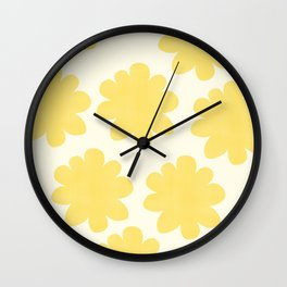 Yellow Flowers on Pale Yellow Wall Clock