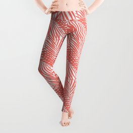Palm Fronds in Living Coral Leggings