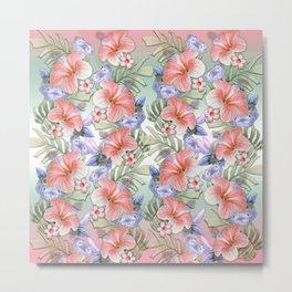 Hibiscus Aloha Stripe Metal Print