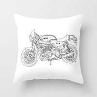 cafe racer Throw Pillows featuring NORTON COMMANDO 961 CAFE RACER 2011 by Larsson Stevensem