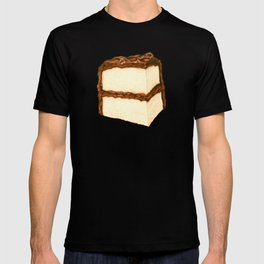 Chocolate Cake Slice Pattern - Blue T-shirt