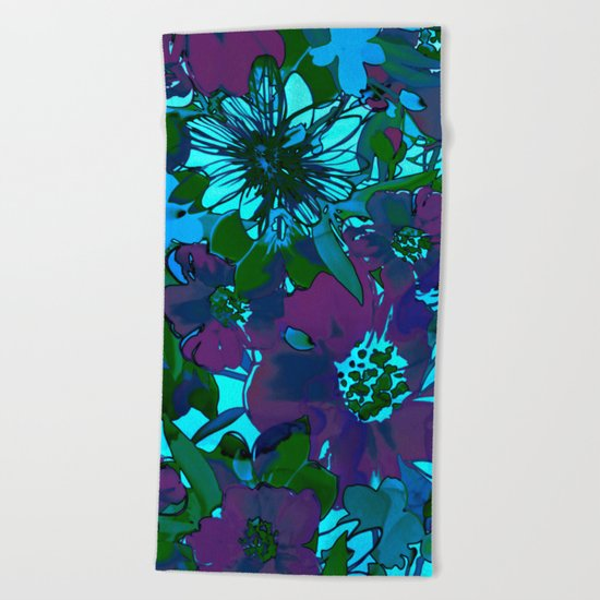 floral melodie in purple Beach Towel