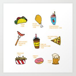 Calorie Counting Junk Food Art Print