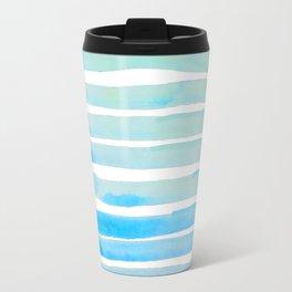 New Year Blue Water Lines Travel Mug