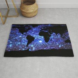 world Map Blue Swirl Galaxy Sparkle Rug