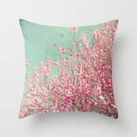 blossom Throw Pillows featuring Blossom by Cassia Beck