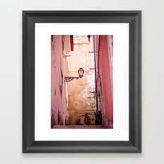 that lonely lamp up there Framed Art Print