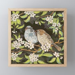 Sparrows in the Plum Tree Framed Mini Art Print
