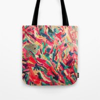 nail polish Tote Bags featuring Nail Polish Painted by WayfarerPrints