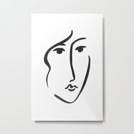 Modern minimal art face fashion print In the style of Matisse Metal Print