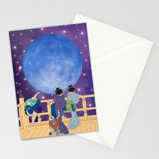 Hokusai People Seeing the Moon in Universe Stationery Cards