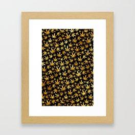 Black Gold Weed Pattern Framed Art Print