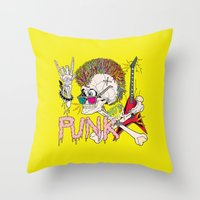 punk Throw Pillows featuring Punk by dogooder