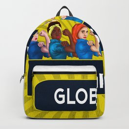 Global Feminists Women Girls design Rosie Riveter Design Backpack