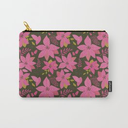 MicMick's Serene Poinsettia Dark Pink Carry-All Pouch