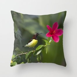 Purple Sunbrid Throw Pillow